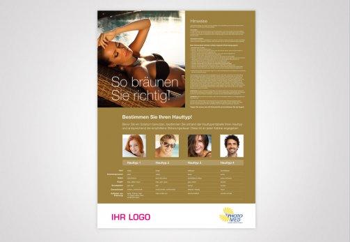 Studioposter mit eigenem Logo, Hauttypen-Tabelle und Infos