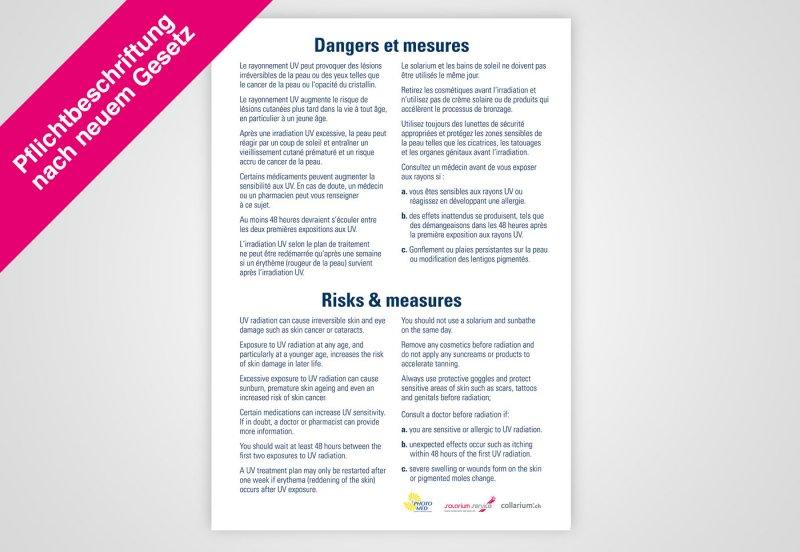 """Poster französisch """"Hinweise"""" nach Gesetz DIN A1"""